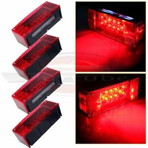 4x Universal Red Led Over 80 Trailer Boat Rectangle Stud Stop turn tail Lights