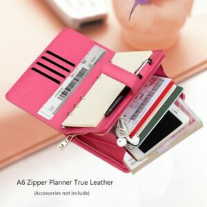 Harphia Top Layer Leather Notebook Refillable Double Layer Planner With Zipper