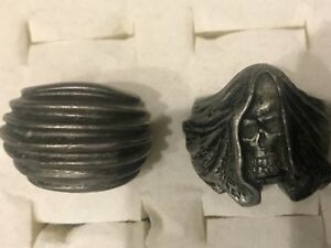 Vintage Antique Sterling Silver Pewter Skull Men S Heavy Ring