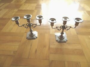 A Pair Of Antique Black Starr And Gorham Sterling Silver Candle Holders