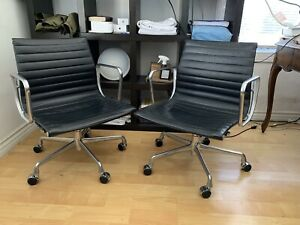 Pair Black Leather Herman Miller Eames 2007 Aluminum Management Chairs