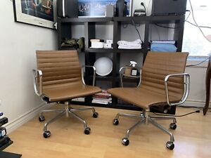 Pair Herman Miller Eames 2002 2003 Brown Leather Aluminum Management Chairs