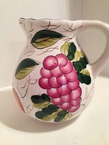 Large Ceramic Pitcher With Fruit Design