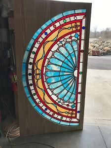Antique Large Arched Stained Glass Window 40 5 X 77 Jewels