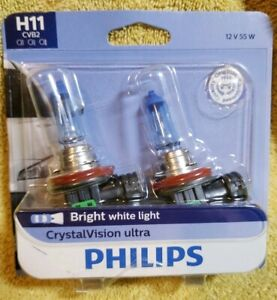 Pack Of 2 Headlight Bulb Crystalvision Ultra Twin Blister Pack Philips H11cvb2