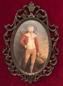 Vintage Ornate Victorian Brass Framed Portrait Of Boy Made In Italy