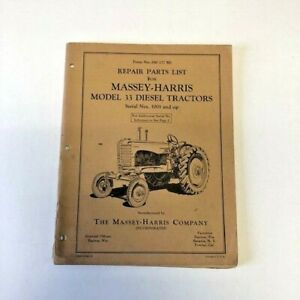 Repair Parts List Massey Harris Model 33 Diesel Tractors