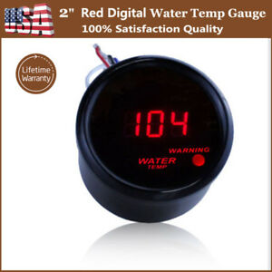 Black 2 52mm Digital Led Fahrenheit Water Temp Temperature Gauge