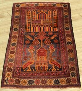 Semi Antique Hand Knotted Afghan Prayer Balouch Wool Area Rug 3 X 4 Ft
