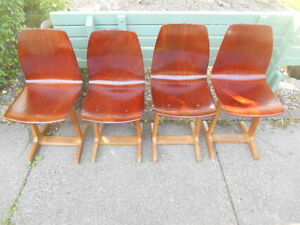 Single Danish Modern Andrew Stegner Plywood Dining Chair 4 Available