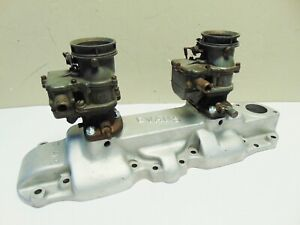 Ford Flathead V8 Evans 2x2 Aluminum Intake Manifold 2 Stromberg Big 97 Carbs