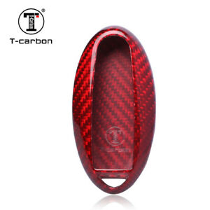 Red Real Carbon Fiber Key Fob Cover Shell Case Holder For Nissan Infiniti