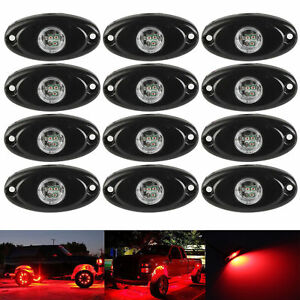 12x Red 9w Cree Led Rock Light For Jeep Marine Wrangler Off Road Under Body Lamp