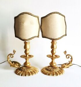 Antique French Gilt Empire Style Chamberstick Candlestick Accent Lamps 1930s
