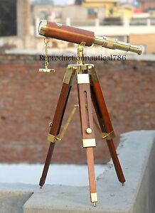 Collectible Nautical Spyglass Brass Leather Telescope With Wood Tripod Decor