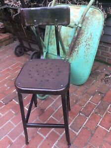 Vintage Industrial 26 Lyon Metal Stool W Back 14 Square Seat Very Good