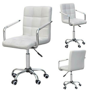 White Swivel Executive Pu Leather Office Chair Ergonomic Computer Chair Used