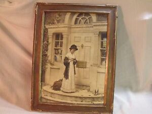 Antique 1894 Framed Victorian Print The New Governess