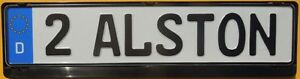 German 2 Alston Euro License Plate Black Frame Volkswagen Golf Bora Jetta