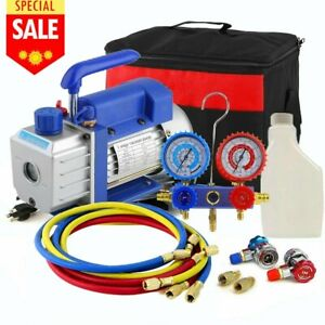 Hvac 1 3hp 5cfm Vacuum Pump Air Ac Set 4 way A c Aluminum Manifold Gauge Usa Bt