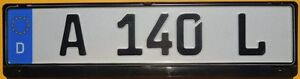 German A 140 L Euro License Plate Black Frame Volkswagen Audi Bmw Volvo