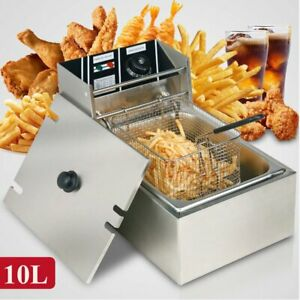 Countertop Stainless Steel Single Container Tank Electric Deep Fryer Us Plug Bp