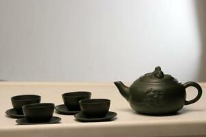Antique Yixing Teapot With Flower And Fish Green With 4 Cups