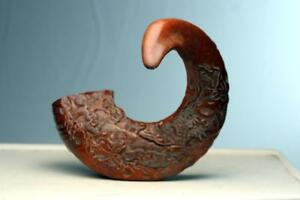 Antique Carved Chinese Rams Ox Horn Statue