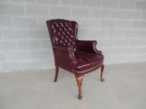 Flexsteel Chippendale Style Turfted Leather Wing Back Arm Chair