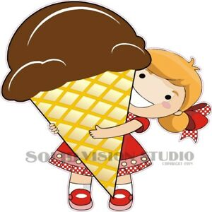 Ice Cream Cone Girl Concession Food Cart Truck Restaurant Weatherproof Decal
