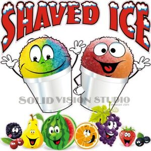 Shaved Ice Happy Cups Concession Cart Ice Cream Truck Vinyl Weatherproof Decal