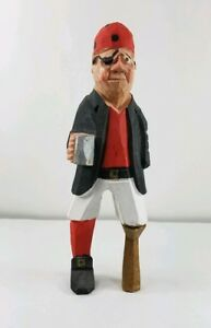 Vintage Hand Carved Hand Painted Wooden Pirate Statue Figurine Red Black Euc
