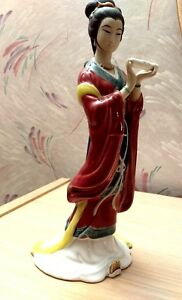 Collectable Porcelain Asian Hand Painted Japanese Lady W Scroll Figurine Statue