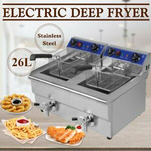 26l Electric Countertop Deep Fryer Commercial Restaurant Fried Food Cooker Bp