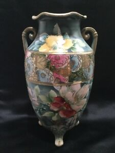 Pretty Ornate Asian Moriage Satsuma Vase Floral Double Handle Footed Jar