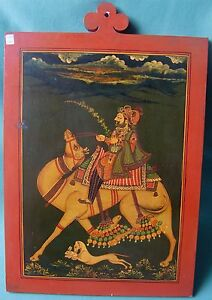Vintage Wooden Slate Miniature Painting Of Indian Royal Man Traveling With Camel