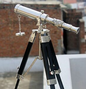 Collectible Ship Master Spyglass Brass Telescope With Tripod Desktop Decorative
