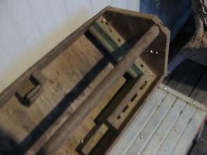 Old Vintage Antique Wooden Carpenter S Tool Box Primitive Carrying Tote Caddy A
