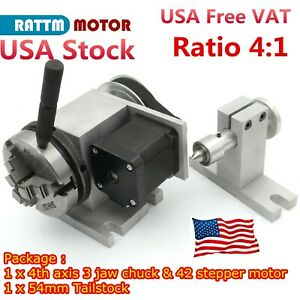 Us rotation 4th Axis 3 Jaw Chuck 65mm Cnc Router Rotary Table A Axis Tailstock