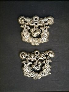 2 Vintage Chinese Silver Hinged Fish Pendants Or Charms