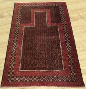 Semi Antique Hand Knotted Afghan Esrari Prayer Balouch Wool Area Rug 3 X 5 Ft