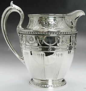 1915 Ornate Whiting Sterling Silver Water Pitcher 84 Fl Oz Huge Size