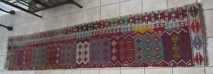 Antique Hand Knotted Kurd Kilim Runner Rug Vegetable Dye 29 X149
