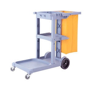 Commercial Cleaning Janitorial Cart With Large Vinyl Bag 3 Shelf Housekeeping