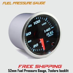 2 52mm Electric Fuel Pressure Digital Gauge 0 140 Psi 7 Color Led Display