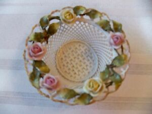 Antique German Open Weave Candy Dish With China Flowers On Rim