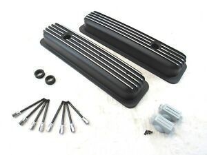Sbc Chevy 350 Center Bolt Short Aluminum Finned Valve Cover Black Bpe 2027b