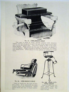 1935 Paidar 3 Vintage Childrens Barber Chairs Leather Copper Sign Ad