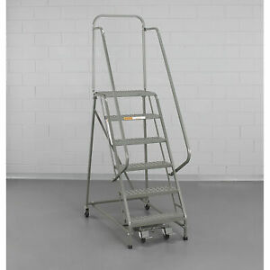 Ega L001 Steel Industrial Rolling Ladder 2 step 16 Wide Perforated Gray 450