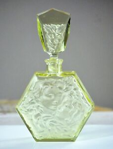 Vtg Czech Cut Glass Perfume Bottle W Frosted Facials Of Kissing Couple Ending